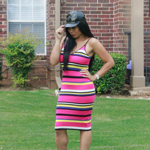 Load image into Gallery viewer, Pink Striped Knit Bodycon Dress