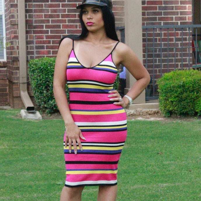 Pink Striped Knit Bodycon Dress