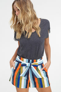 Ramona Multi Stripe Corduroy Shorts