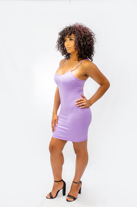 Rib Knit Cami Style Bodycon Mini Dress - Lavender
