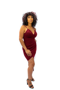 Penelope Spaghetti Bodycon Dress- Burgundy