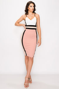 Karen Color Block Midi Dress- Mauve