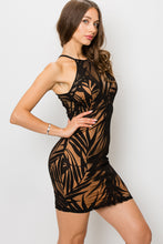 Load image into Gallery viewer, LEAF PRINT VELVET BURNOUT LAYER DRESS