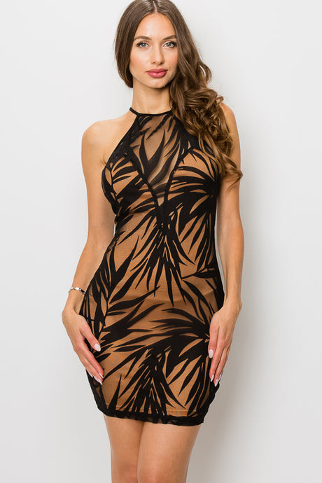 LEAF PRINT VELVET BURNOUT LAYER DRESS
