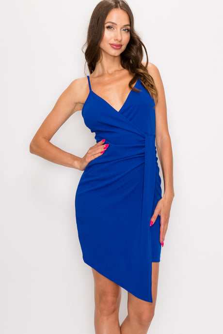 Ruched Surplice Asymmetrical Mini Dress- Royal Blue