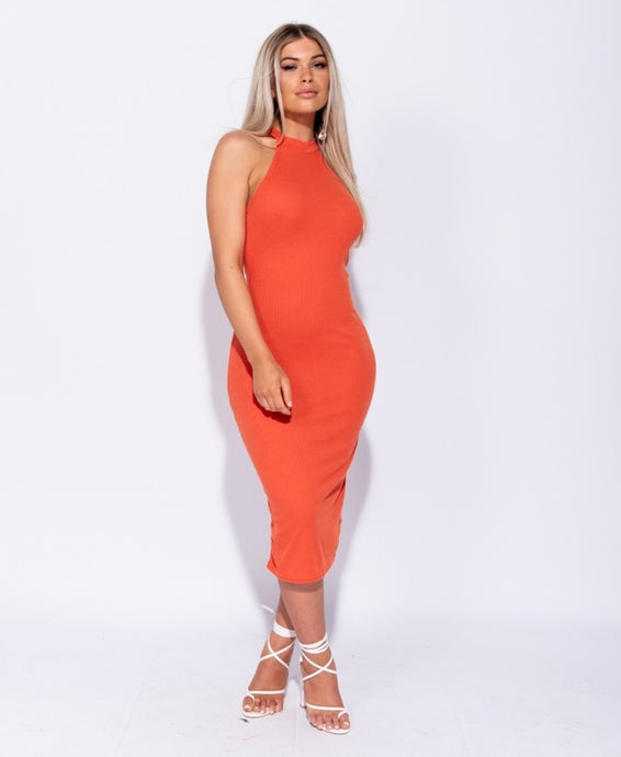 Haley Rib Knit High Neck Bodycon Midi Dress - Orange