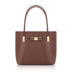 F16127 GESSY BOW DETAIL SHOULDER BAG IN COFFEE
