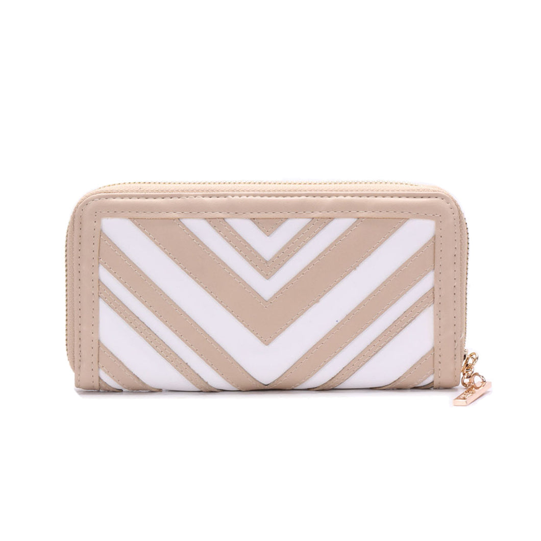 PL418 LYDC DUAL COLOUR PATCHWORK PURSE IN NUDE