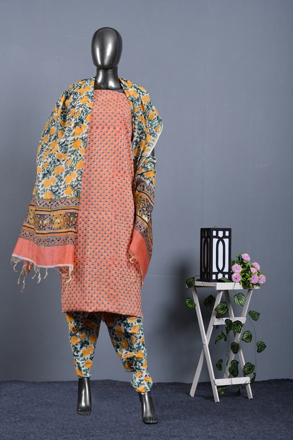 Mogra Print Unstitched Suit set