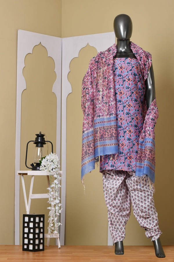 Premium Chanderi Kurta suit with Cotton Palazzo Unstitched Suit set