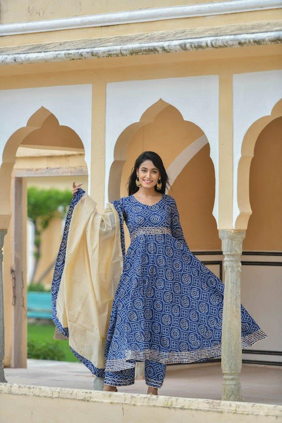 Navy Blue Bandhej Suit with Gota Work and Chanderi Dupatta