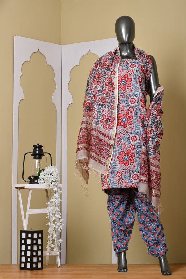 Bold And Beautiful Red Blossom Handblock Cotton Unstitched Fabric Suit Set