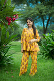 Floral Print Angrakha Style Top with Matching Pant