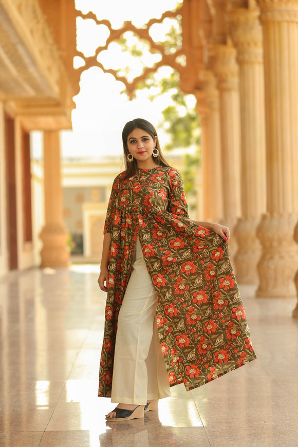 Olive Green and Red Floral Front Open Kurta and Palazzo Set