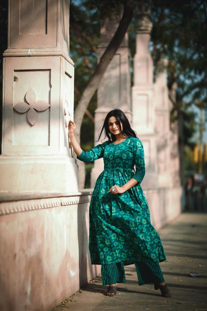 Green Floral Kurta with Striped printed Palazzo