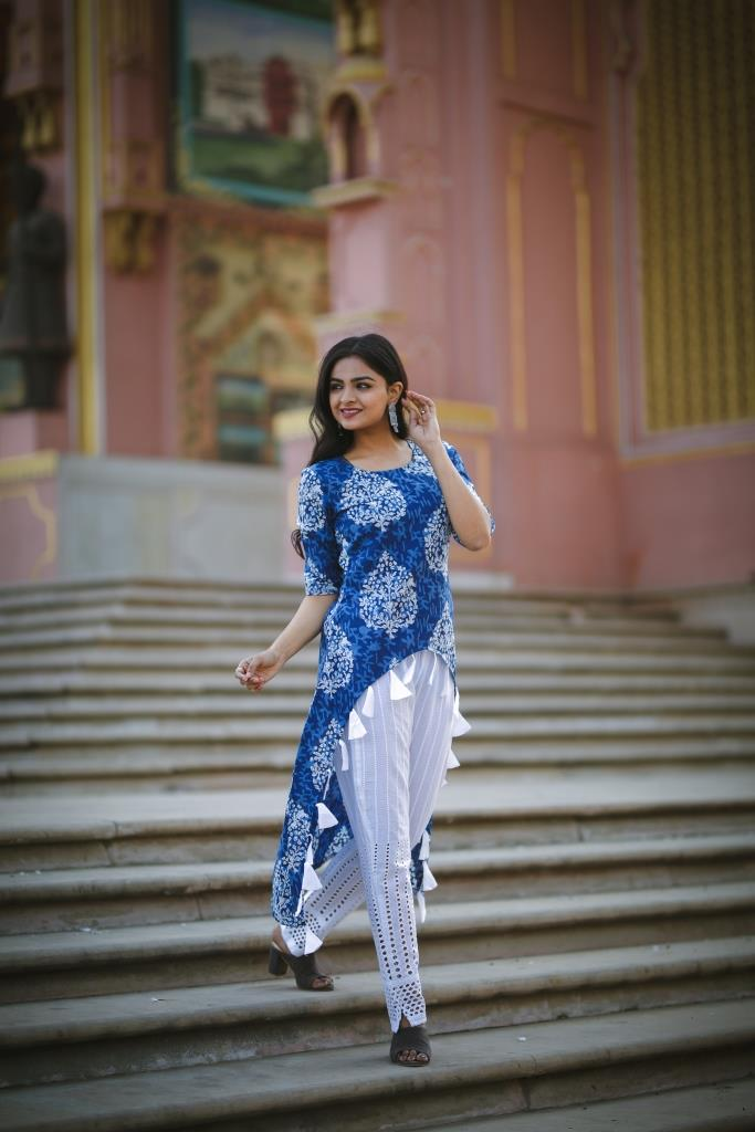 Indigo Print Kurta with Tassel Detail with White Pants