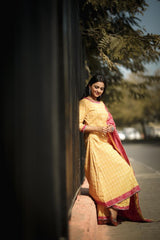 Bandhej Print Yellow and Pink Gota Work Suit
