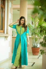 Green Blue Flaired Kurta With Pant