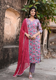 Blue and White Handblock suit with Chanderi Silk Dupatta