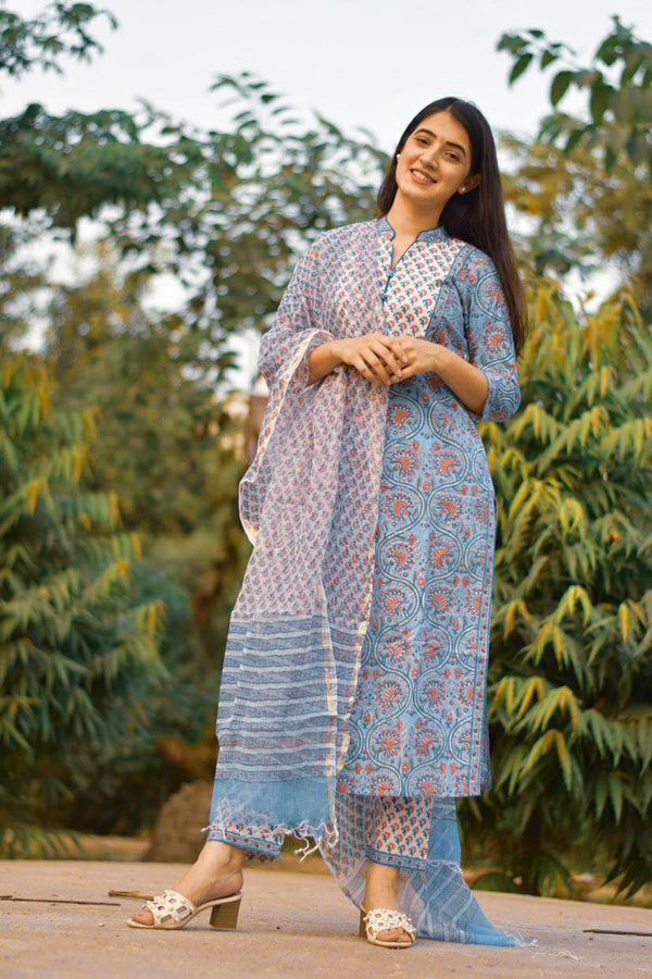 Stunning Handblock Set in Blue With Front Yoke Design and Kotadoria Dupatta