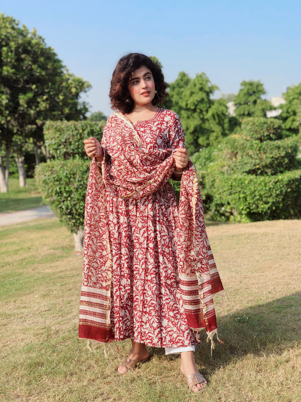 Mesmerizing Maroon Floral Handblock Print suit set with embroidered Pants and Chanderi Silk Dupatta