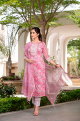 Pink Floral Handblock suit in Gota detail with Kotadoria Dupatta