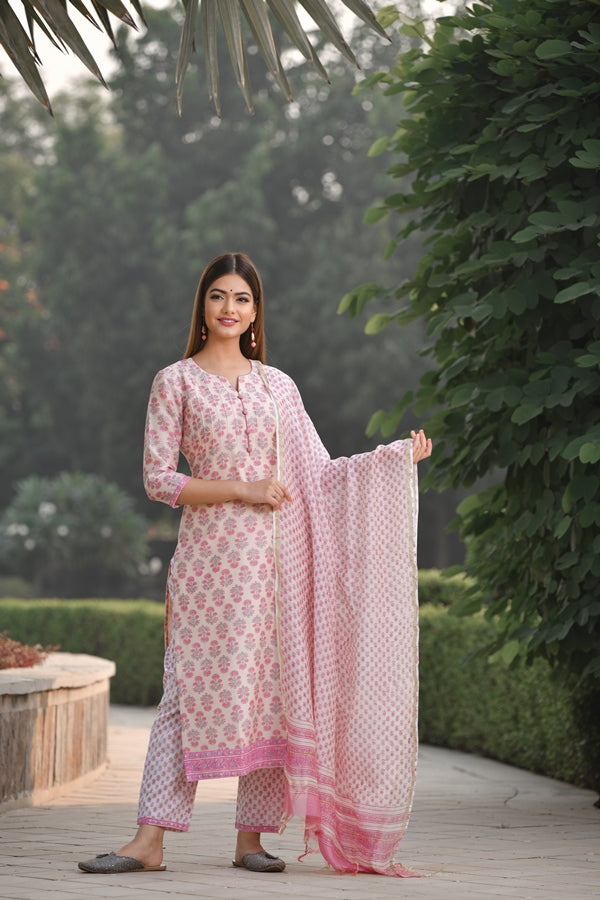 Premium Handblock Chanderi Silk suit set with Button Detail and classic motifs