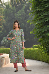 Nature inspired Handblock suit Kurta And Pant Set