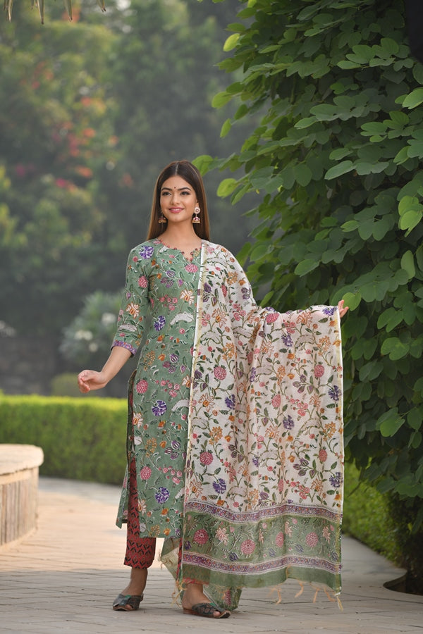 Nature inspired Handblock suit with Button detail and contrast Chanderi Silk Dupatta