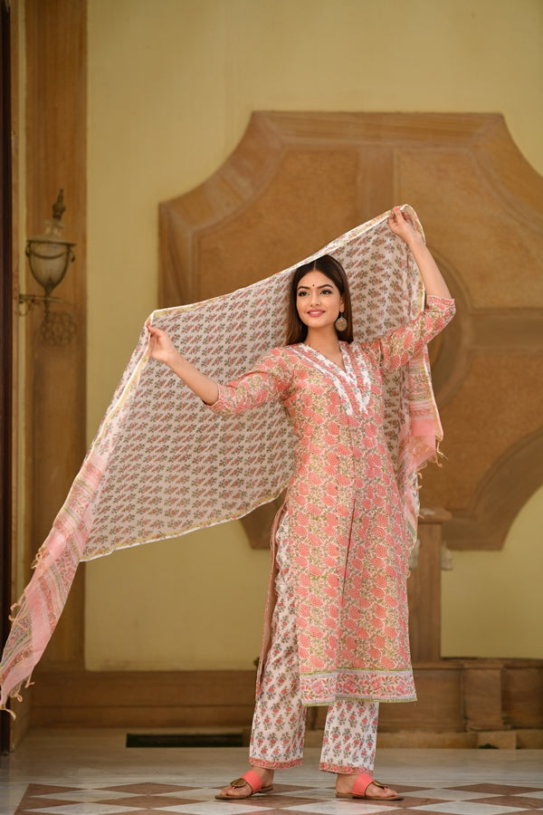 Premium Peach Floral Handblock Chanderi Silk suit with exquisite Button Detail