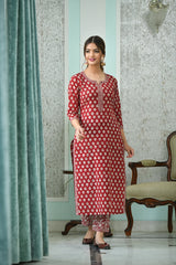 Berry red straight fit handblock Kurta And Pant