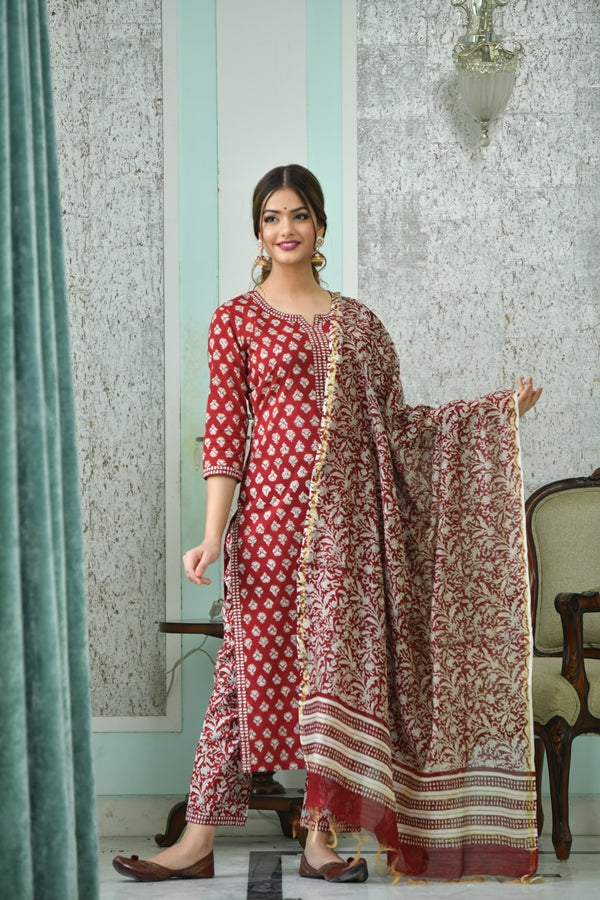 Berry red straight fit handblock print suit set with Chanderi Silk Dupatta