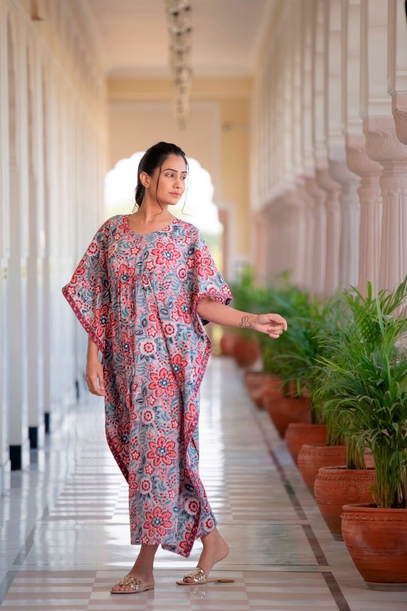 The Reminiscing Red Blossom Hand-block Printed Cotton Kaftan