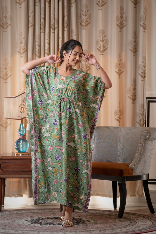 Soaking Green Cotton Handblock Kaftan