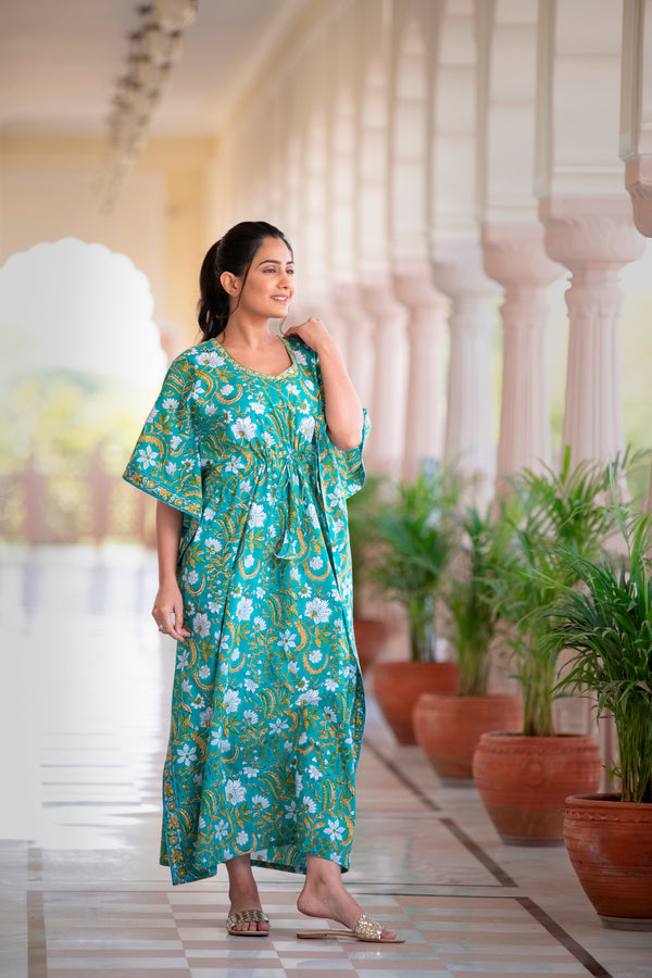 The Soothing Mystical Hued Handblock Printed Cotton Kaftan