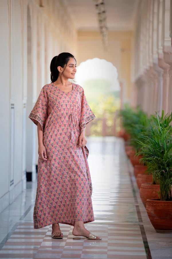 An Easy-Breezy Twilight Pink Cotton Kaftan Dress With Handblock Design