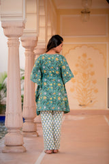 Green and Yellow Blossom Handblock Kaftan Night Suit