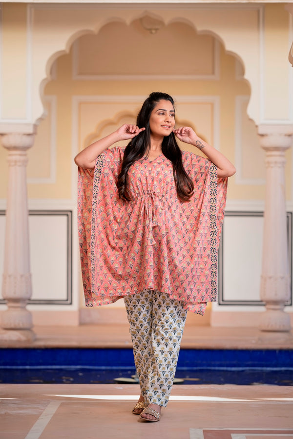 Pretty in Peach Floral Handblock Kaftan Night Suit