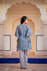 Serene Blue floral Handblock Kaftan Night Suit