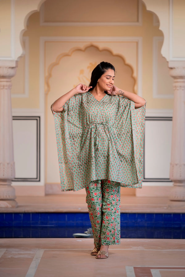 A Natural Tint Of Green Handblock Printed Cotton Kaftan Tunic With Pants (Set of 2)