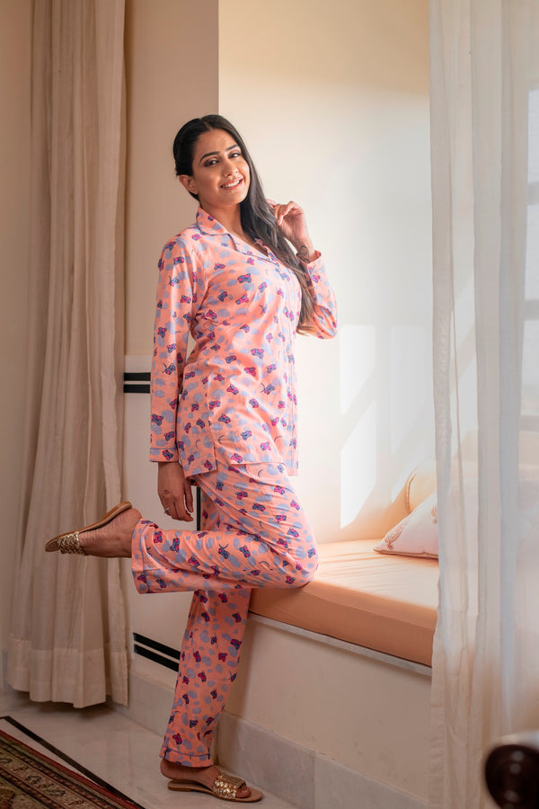 A Gleaming Shade Of Pink Cotton Night Suit
