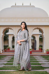 A Classic Dusky Green Handblock Cotton Suit Set with Chanderi Silk Dupatta