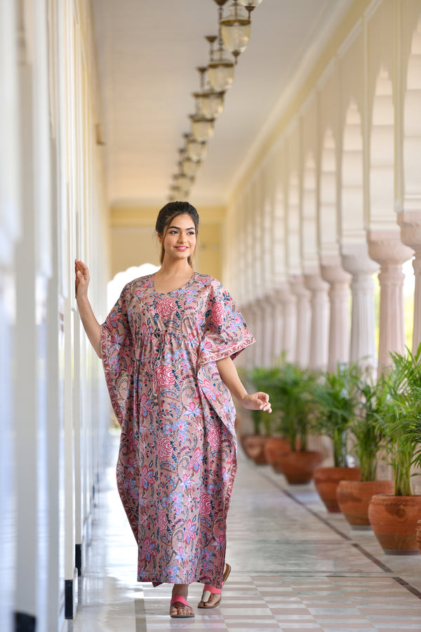 Bouncy Pink Floral Handblock Printed Cotton Kaftan