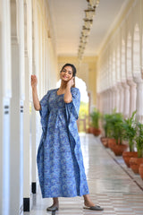 Mesmerizing Blue Handblock Printed Cotton Kaftan