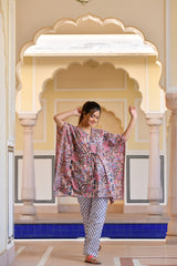 A Distinctively Fragile beige Handblock Printed Cotton Kaftan Tunic With Pants (Set of 2)