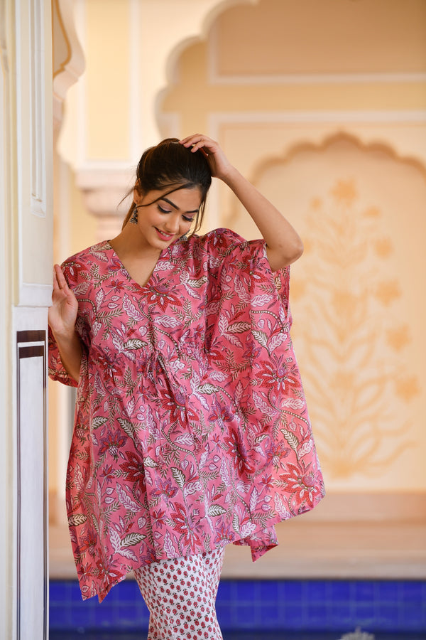 An Exquisitely Attractive Pink Handblock Printed Cotton Kaftan Tunic With Pants (Set of 2)