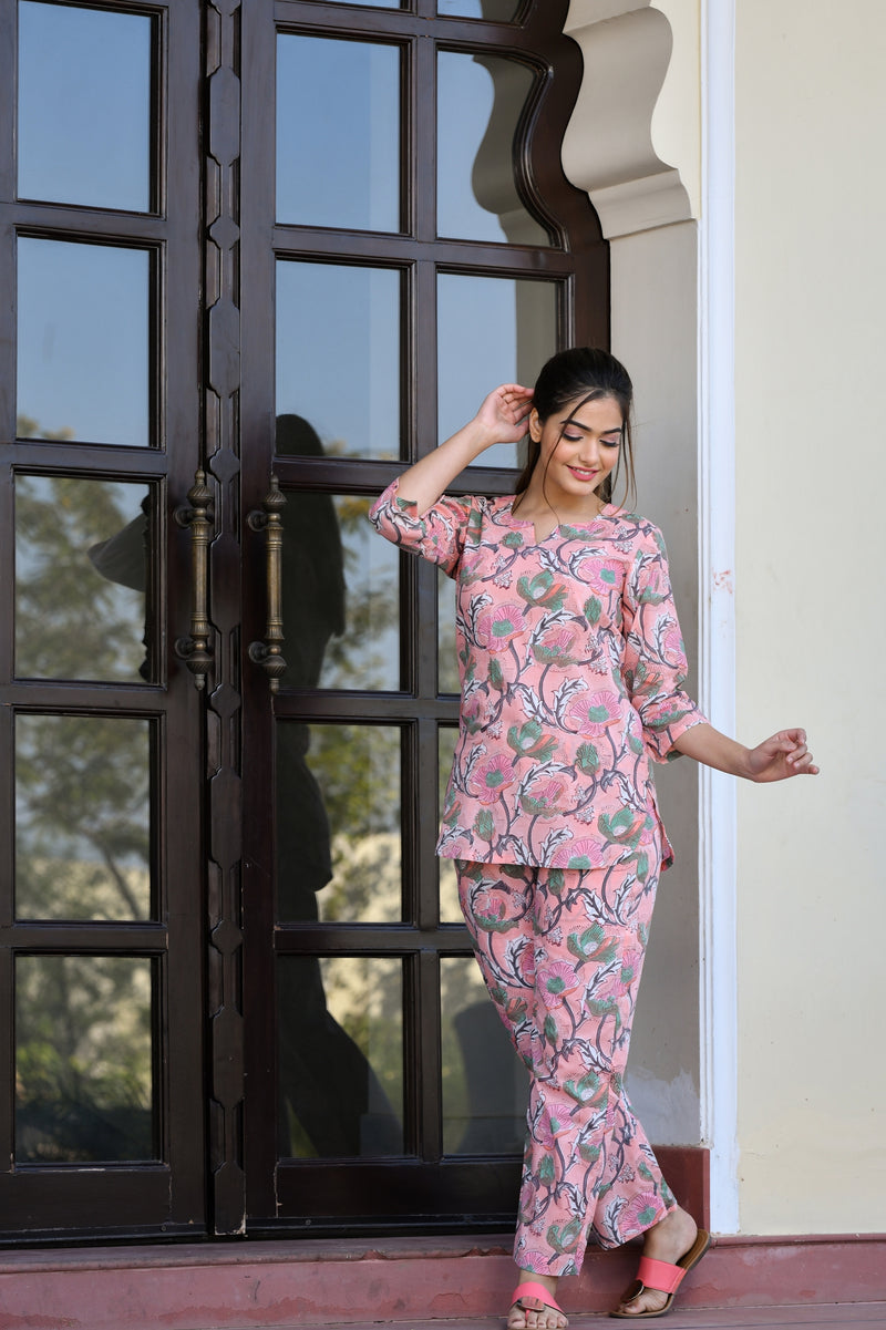 A Dreamy Pink Handblock Cotton Night Suit