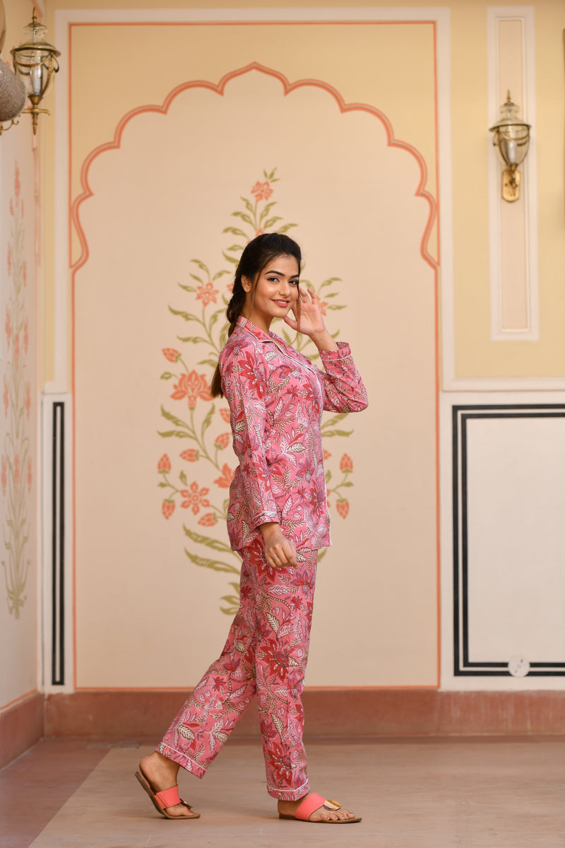 A Gleaming Shade Of Pink Handblock Cotton Night Suit