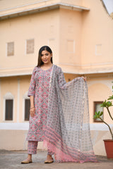 Pink Handblock print Summer Suit set With Red floral Motifs And Kotadoria Dupatta