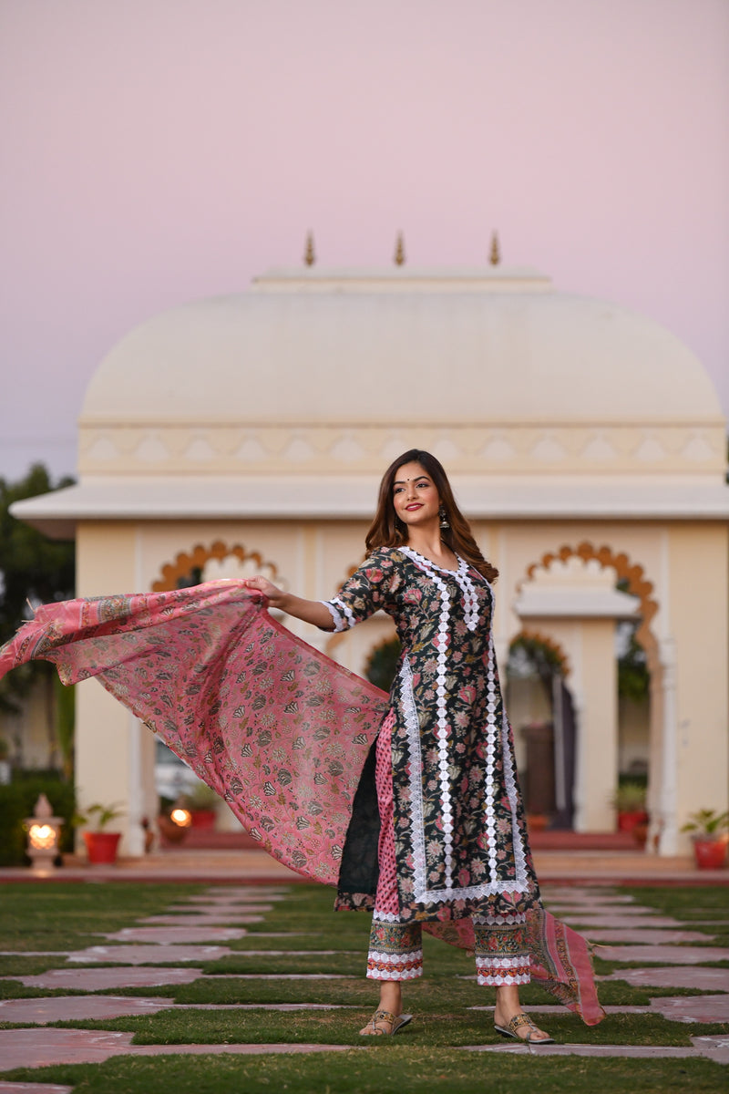 A Multi-Colour Wave Of Handblock Chanderi Silk suit Set